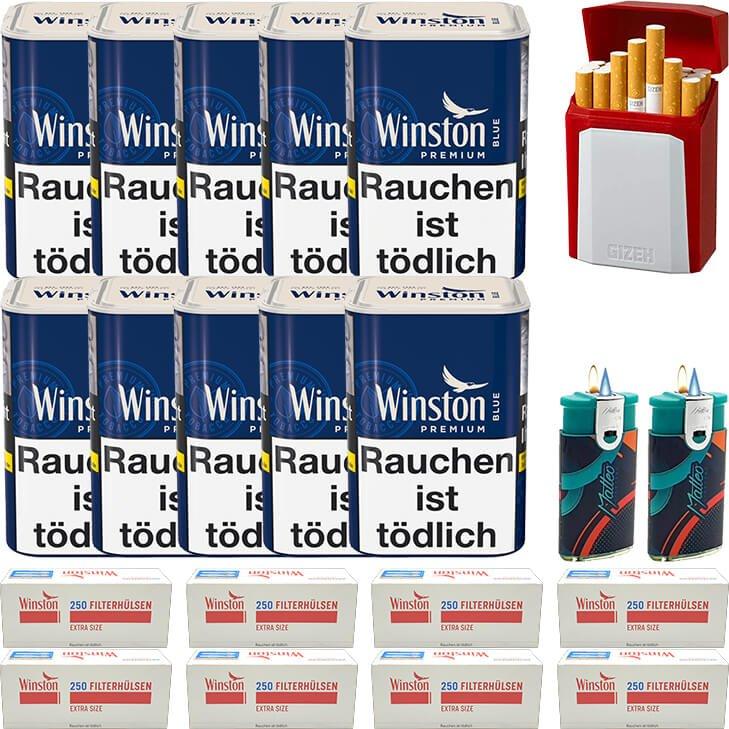 Winston Premium Blue 10 x 90g mit 2000 Special Size Hülsen