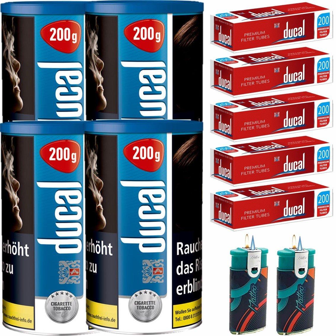 Ducal Blue / Blau 4 x 200g Feinschnitt / Zigarettentabak 1000 Filterhülsen Uvm.