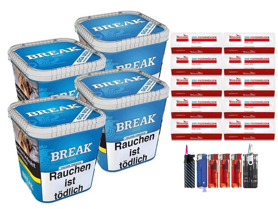 Break Blue / Blau 4 x 230g Volumentabak 2000 King Size Filterhülsen Uvm.