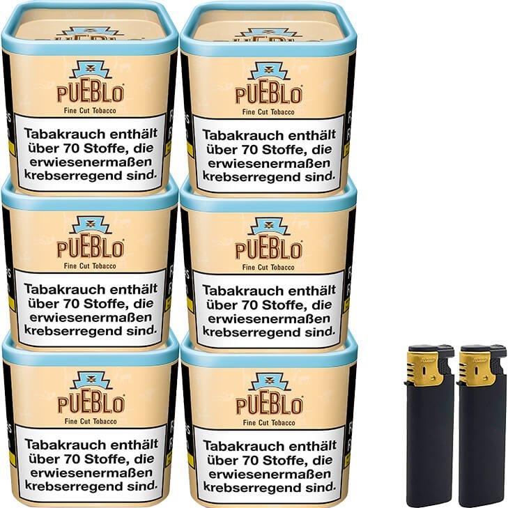 Pueblo Classic 6 x 100g mit Feuerzeuge