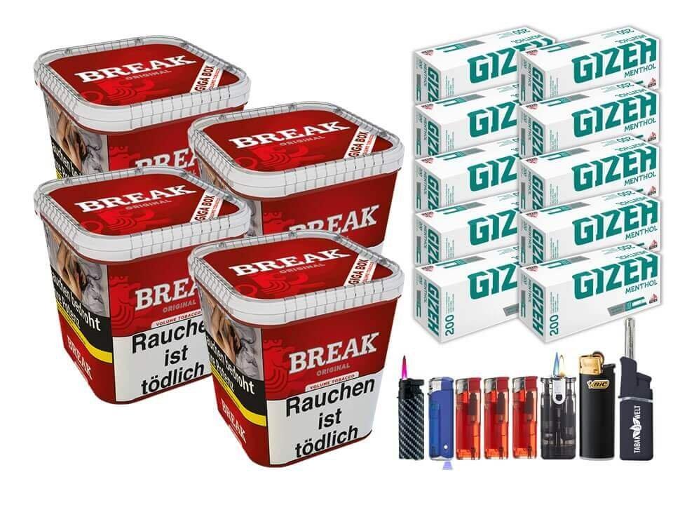 Break Original 4 x 230g Volumentabak 2000 Filterhülsen Uvm.