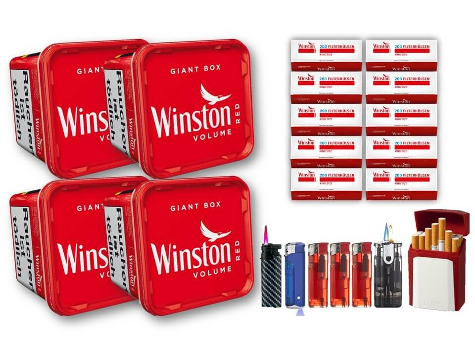 Winston Giant Box 4 x 260g Volumentabak 2000 Winston Filterhülsen Uvm.