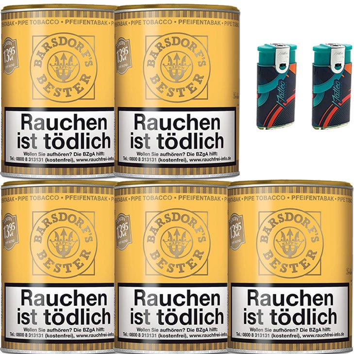 Barsdorf´s Bester Honey & Rum / Gold 5x 160g Pfeifentabak 2 x Duo Feuerzeuge mit 2 Flammen