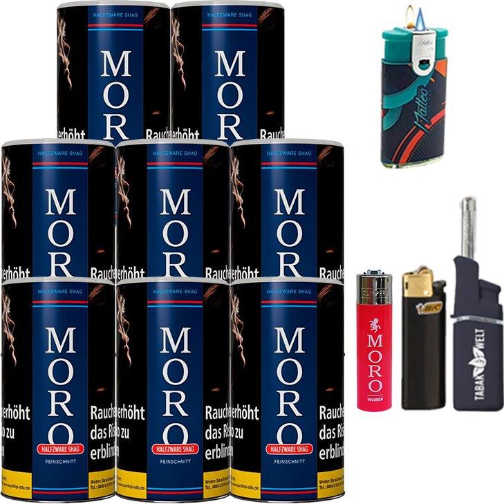 Moro Blau Feinschnittabak 8 x 180g mit Feuerzeugen