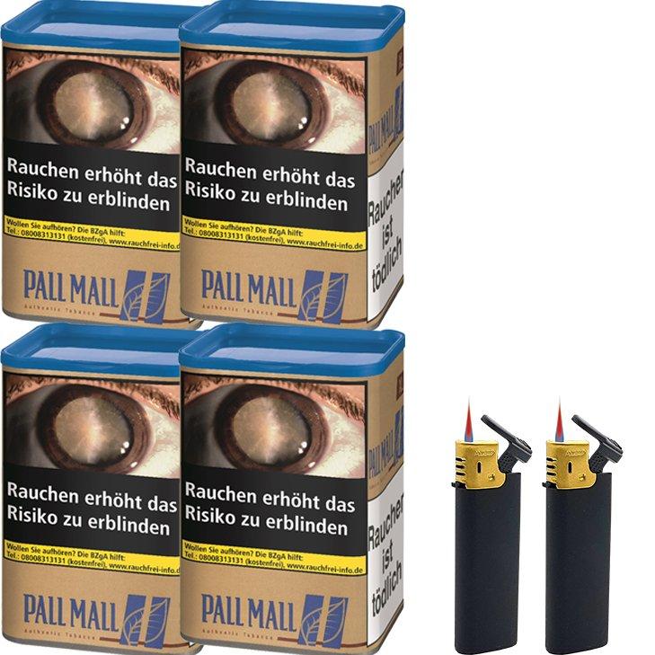 Pall Mall Authentic Blue 4 x 55g mit Sturmfeuerzeugen
