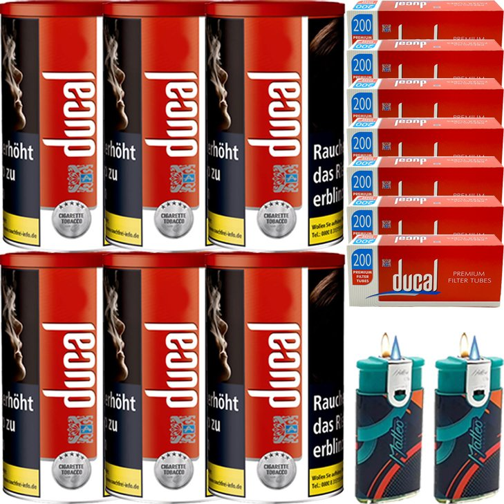 Ducal Red 6 x 200g mit 1400 King Size Filterhülsen